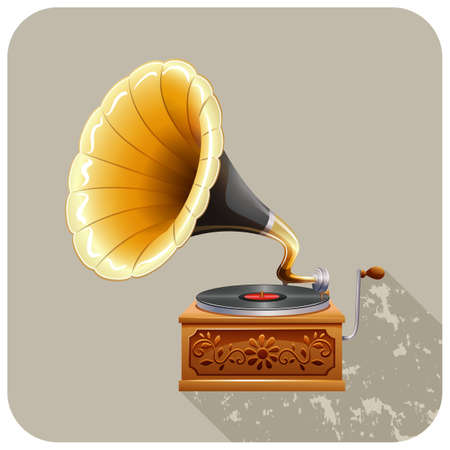 ancient telephone: Close up gramophone with recording Illustration