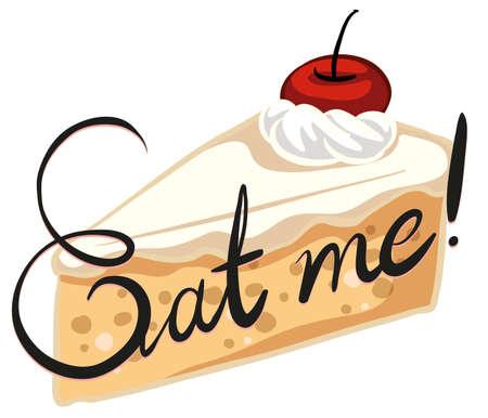 eat cartoon: Creamy cake with cherry on top