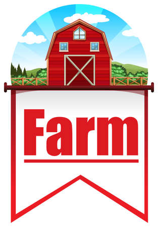 red barn: Red barn background on flag template