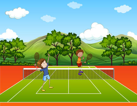 returning: Two men playing tennis at the court Illustration