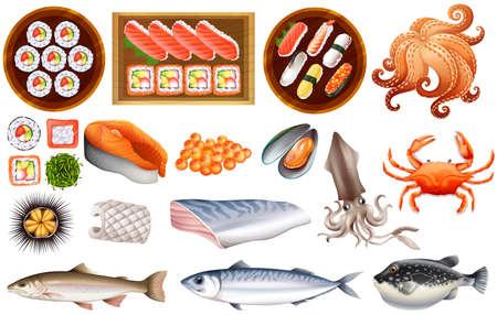 mariscos: Marisco crudo y sushi situado en la bandeja