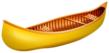 rowboat: Yellow wooden canoe with no design Illustration