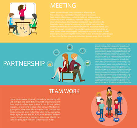 finacial: Business strategy with infographic of people and text