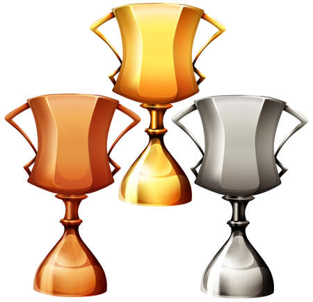 Three trophy in gold copper and silver Illustration