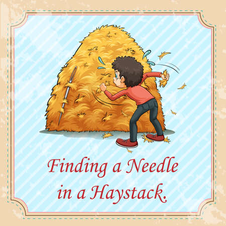 finding: Idiom saying finding a needle in a haystack Illustration