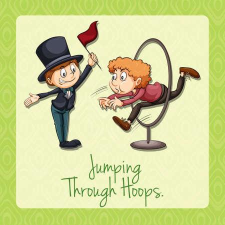 persona saltando: Idiom diciendo saltando a través de aros