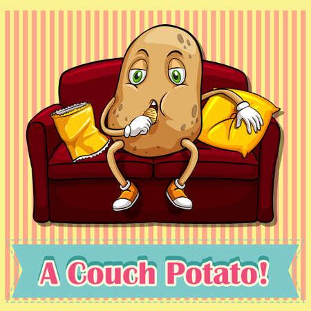 couch potato: English saying a counch potato