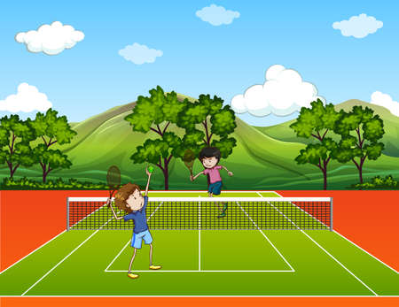 returning: Men playing tennis at the outdoor court Illustration