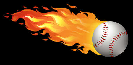 throw up: Baseball on fire with black background