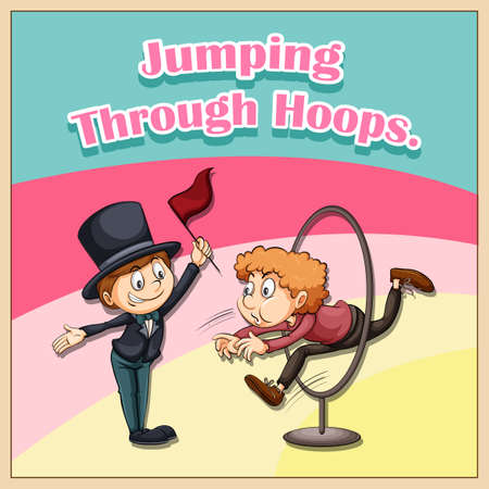 hoops: Idiom illustration saying jumping through hoops