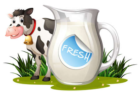 milk cow: Fresh milk with cow standing by the jar