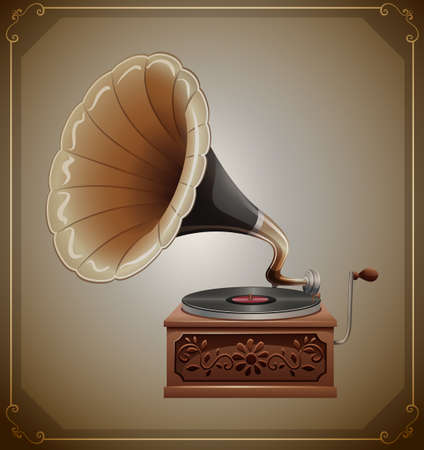grabadora: Gramófono clásico con grabador y caja de madera
