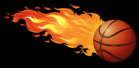 basketball ball on fire: Basketball on fire with black background Illustration