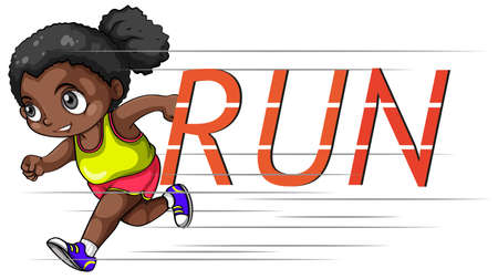 african american: African american girl running alone Illustration