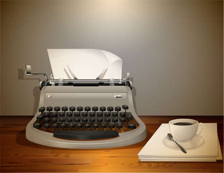 typewriter machine: Typewriter with papers and coffee on the table