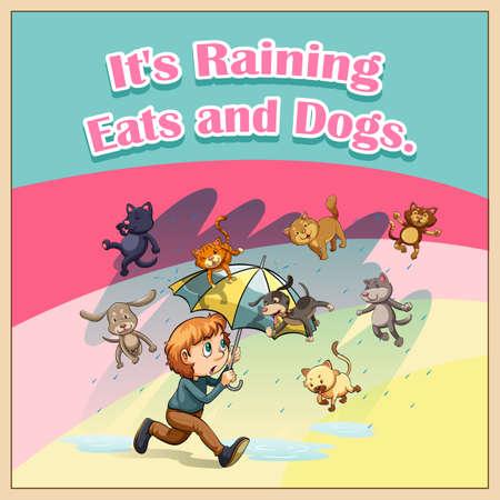 raining: Idiom saying its raining cats and dogs