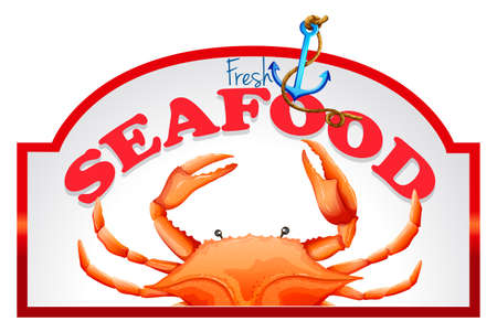 uncooked: Fresh crab with seafood banner Illustration