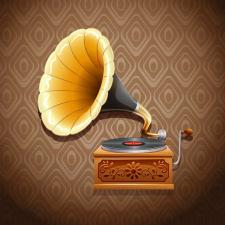 gramophone: Vintage gramophone with recording disk