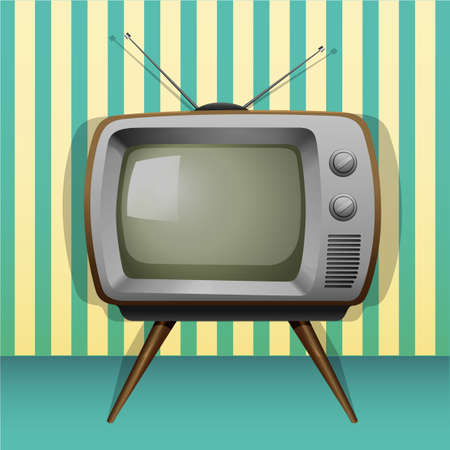telly: Retro television with antenna and legs Illustration