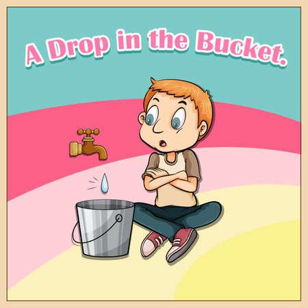 idiom: Idiom saying a drop in the bucket Illustration