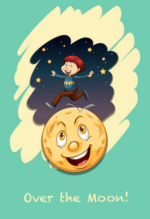 idiom: Idiom saying over the moon Illustration