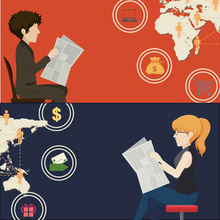 reading newspaper: Inforgraphic with man and woman reading newspaper