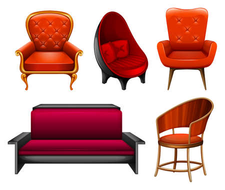 Different kind of chairs in red Illustration