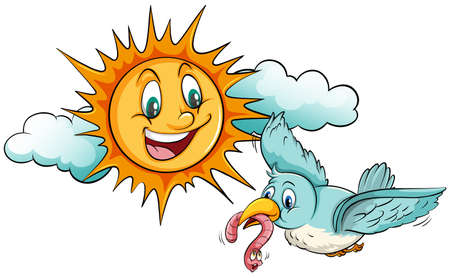 eating food: Sun smiling at the bird