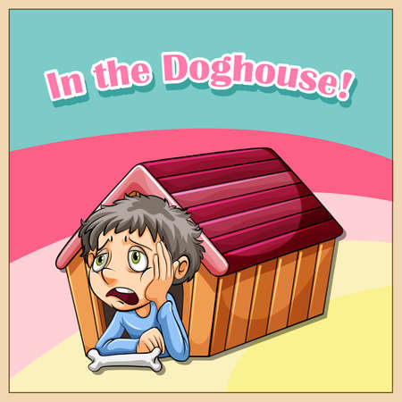 troublesome: Idiom illustration saying in the doghouse Illustration