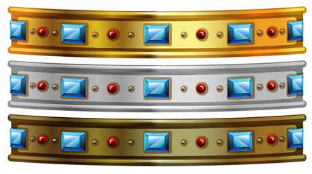 metalic design: Golden and silver bracelet with gems