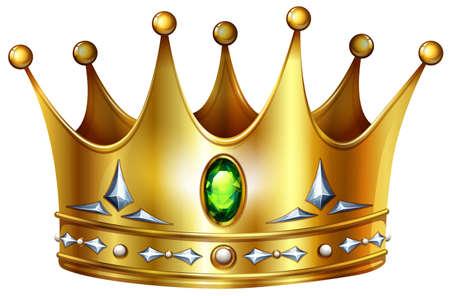 corona real: Corona de oro con piedras preciosas y diamantes verdes Vectores