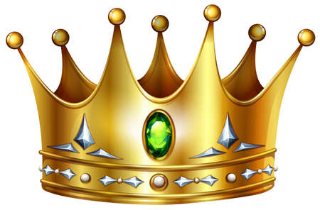 Golden crown with green gemstones and diamonds Ilustracja