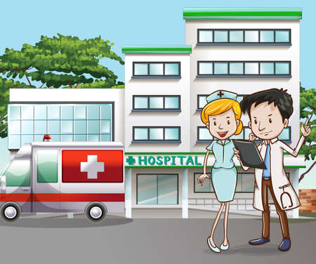 caricatura enfermera: Médico y enfermera en el frente del hospital