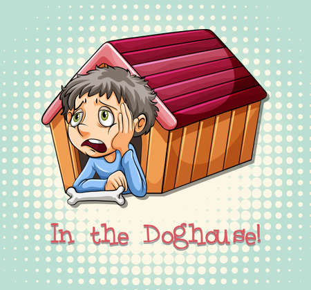 figurative: Idiom saying in the doghouse