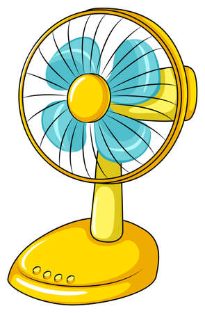 plain button: Yellow electric fan in simple design
