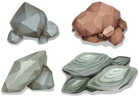 Ensemble de différentes roches de motif sur fond blanc