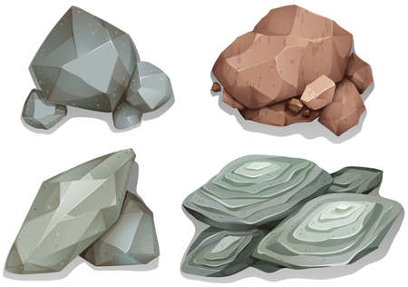 Set di diverse rocce modello su sfondo bianco