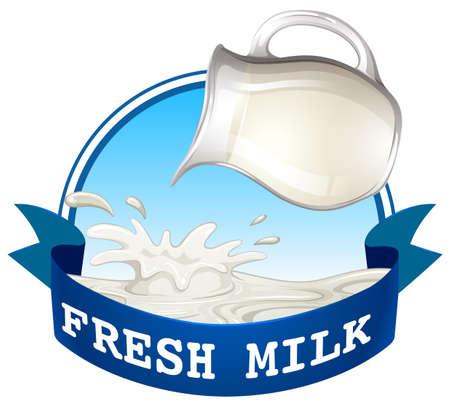 latte fresco: Versando il latte fresco con blu nastro testo