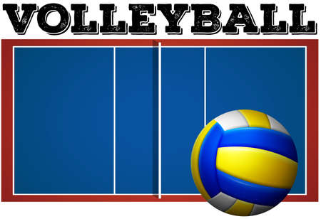 field: Volleyball court and ball illustration