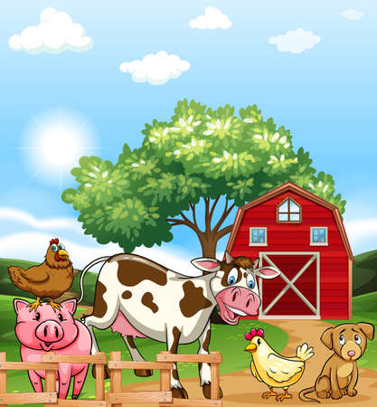 domestic scene: Farm animals living in the farm land