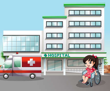 Girl sitting on wheelchair at the hospital Vectores