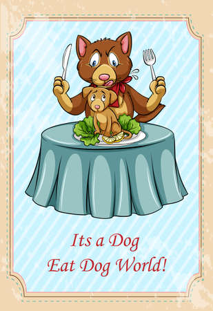 dog sled: Its a dog eat dog world idiom illustration