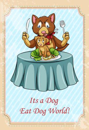 idiom: Its a dog eat dog world idiom illustration