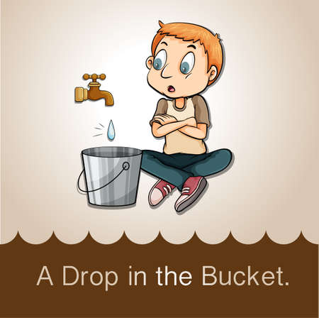 saying: Idiom saying a drop in the bucket Illustration