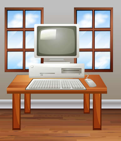 old pc: Old computer in room illustration