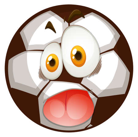 silly face: Football ball with silly face