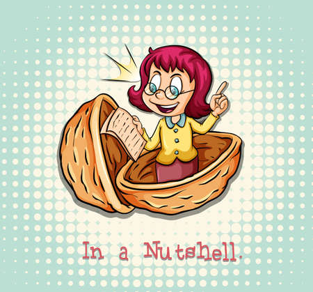Girl in a nutshell idiom illustration