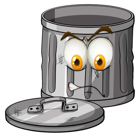 Trash can with emotion illustration