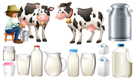 dairy cows: Dairy products set with farmer and milk Illustration