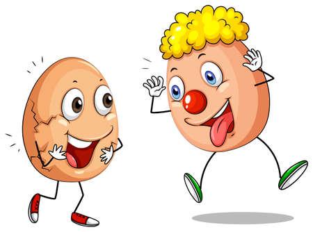 cracks: Laughing egg with cracks on its shell Illustration